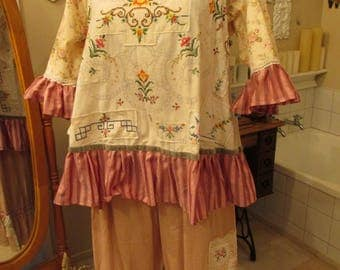 Vintage Kitty.. FRENCH MARKET TUNIC, cross-stitch, french vanilla, pink roses, velvet linens, vintage linen, ooak gorgeous, ooak.  Lge/xl