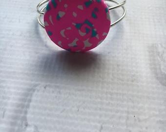 Preppy Bracelet, Circle Bracelet, Preppy Round Bracelet,Coverbutton Pendant, Preppy Inspired,Preppy Pink bracelet