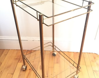 FREE S/H Brass and Glass Vintage Mid Century Modern Rolling Bar Cart Tea Trolley. Hollywood Regency Two Tiered Gold Beverage Station Wheels