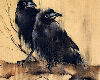 Crows on a Branch Original Charcoal Drawing Black and White Art 12x8""