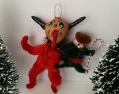 Vintage Style Folk Art Naughty Christmas Krampus Holiday Feather Tree Ornament