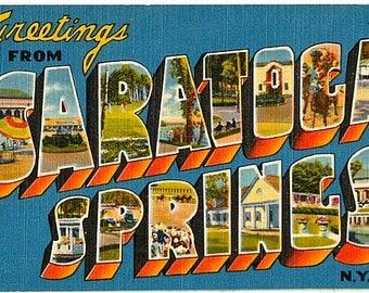 Vintage New York Postcard - Greetings from Saratoga Springs (Unused)