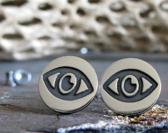 Evil Eye sterling silver post earrings.  Good luck talisman amulet. Protection jewelry. Hamsa. Unique gift for her. Womens jewelry.