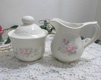 Pfaltzgraff Tea Rose Creamer and Sugar with Lid