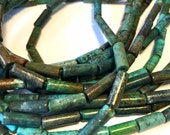 REAL TURQUOISE tube beads full 15 inch long strand great color great deal
