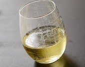 Minneapolis Map Stemless Wine Glass