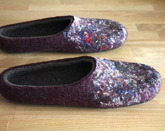 "AHA"" Hand felted wool slippers by Onstail in unisex adult size EU 42"
