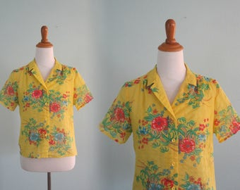 Vintage 80s Shirt - Cute 80s Bright Yellow Parrot Print Blouse - Vintage Sheer Floral Blouse - Vintage 1980s Shirt S M