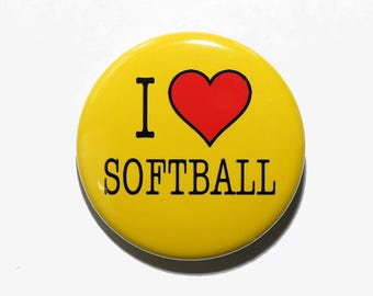 I Love Softball - Pinback Button Badge 1 1/2 inch 1.5 - Keychain Magnet or Flatback - Heart Sports