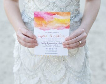 Watercolor Flat Wedding Invitation on White Pearlescent Linen Cardstock