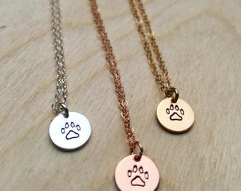 Pw Print Necklace,Gold Pet Necklace,Dog Lover Pendant,Rose Gold Necklace,14K Gold,Pet Lover,Cat Paw Print Necklace,Dog Necklace,Personalized