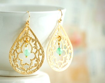 Gold Filigree Earrings, Gold Lace Earrings, Mint Green Gemstone, Aqua Bead Earrings, Gift for Her, Boho Bridal Jewelry, Bridesmaid Gift