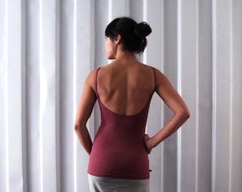 Low back tank - Singlet - Yoga top - yoga clothes - dance wear - athleisure. Dusky rose - Burgundy - Black - Dark grey. Size SM and ML