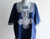 Navy blue CELTIC knot 60s / 70s boho hippie shirt UNISEX sz. Medium / Large