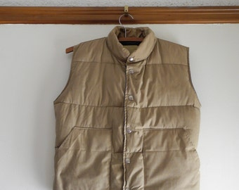Two tone classic 70s / 80s DOWN snap front puffer vest UNISEX sz. XS / Small - tan & blue