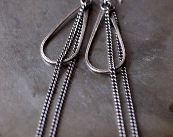 Super sassy, sexy and long sterling silver teardrop and chain hanging earrings