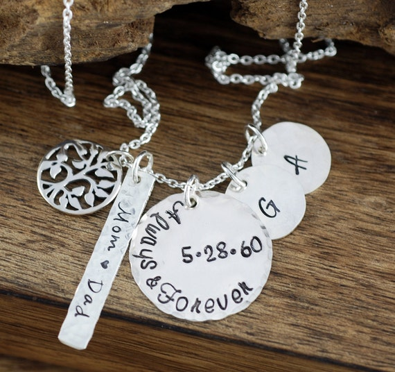 Personalized Family Necklace, Always and Forever, Family Tree Necklace, Memorial Necklace, Name Tag Jewelry, Tree of Life Necklace