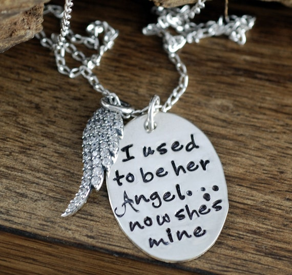 I used to be her Angel now she's Mine Necklace. Remembrance necklace, Angel wing necklace, Memorial Necklace, Loss of Loved one