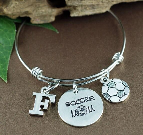 Soccer Mom Bracelet, Personalized Sports Bracelet, Mom Jewelry, Mothers Day Gift, Initial Bracelet, Soccer Jewelry, Team Mom Gift