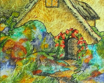 Original Painting Zen Inspired Watercolor Tissue Fantasy SECRET COTTAGE Lynne French