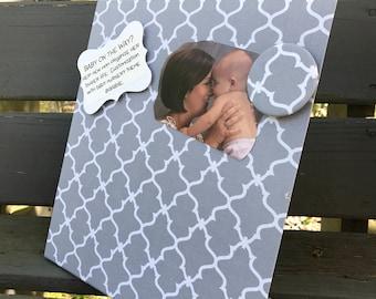 Vision Board, Magnet Board, New Baby Gift, Magnetic Board, Desktop Organizer, Quatrefoil Grey Fabric, Magnetic Board