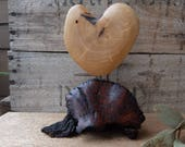 "Wood heart sculpture - ""LOVE"" - unique heart gift handmade in Australia - hand carved heart home decor"