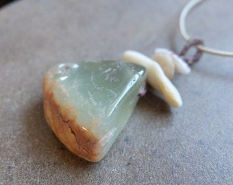 Prehnite, shell, pebble jewelry -  natural organic gem stone pendant necklace. macrame gem stone necklace