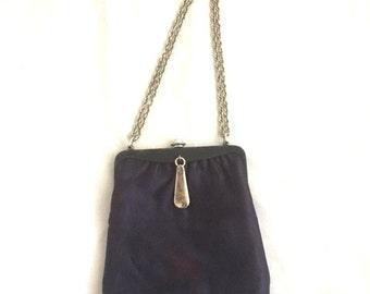 Vintage NAVY CHAIN Purse / 60s Blue Silver Chain Handbag