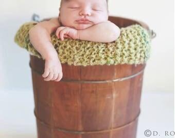 Hand Knit Blanket Baby Photo Prop Newborn Mohair Bucket Filler Knitted Layer Pixie Hat Set Infant Photography Boy Basket Stuffer Green Mat