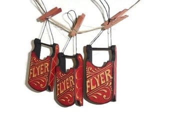Wooden Mini Sled Hand Painted With Retro Looking FLYER and Stroke Design