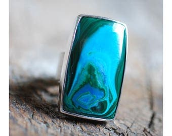Malachite Chrysocolla Ring Sz 6