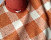 Vintage Wool Skirt, Sears Junior Bazaar Orange and Cream Bonded Wool A-Line Plaid Skirt