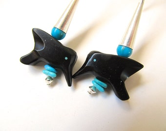 Bird Fetish Earrings in Sterling, Turquoise, and Jet - Hummingbird Earrings