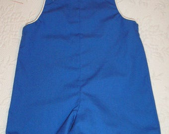 Shortall John John, Royal Blue with white piping trim and buttons,  Size 3,  Ready to Ship