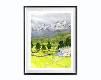 Barn Painting, Farm Painting, Landscape painting, Mountain landscape, Old Barn, White Barn, Farmhouse Art, Barn Art, Watercolor painting, N
