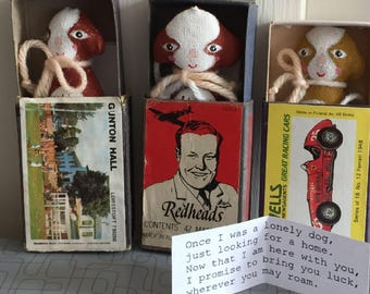 Wish Dolls, cute animals homed in vintage matchboxes. Comes with a poem. Perfect gift. cats, dogs, foxes, birds, ducks, unicorns,