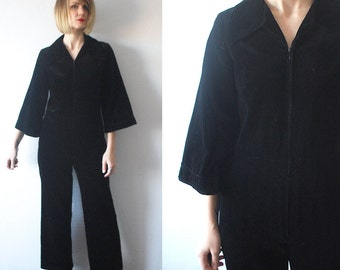 70s velvet jumpsuit. wide leg jumpsuit. black velvet one piece - small to medium