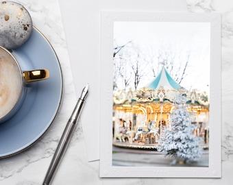 Paris Carousel Holiday Photo Notecard - Christmas in Paris, Twinkle Lights Photo Notecard, Stationery, Blank Notecard