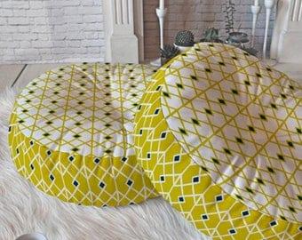 Geometric Floor Pillow // Round & Square // Midcentury Modern Living // Dorm Decor // Home Decor // Floor Cushion // Annika Diamond Design