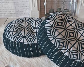 Midcentury Modern Round and Square Floor Pillows // Retro Geometric // Floor Cushion // Dorm Decor // Metro Steel Design // Navy Blue // Geo
