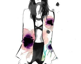Poppy Tux, print from original mixed media watercolor fashion illustration by Jessica Durrant