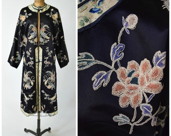 Antique Embroidered Black Satin Chinese Asian Jacket // Wearable Textile Art // Chic & Elegant Statement Fashion
