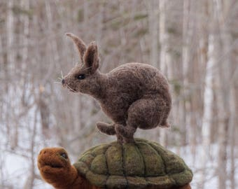 RESERVED - Needle felted Animal Tortoise and the Hare Needlefelted Soft Sculpture Animal by Bella McBride