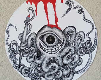 """The Octopus Paints the World Red Pen & Ink on Recycled 12"""" Vinyl Record LP Art"""