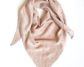 Pure Cashmere Triangle Scarf, Hand dyed & Handmade, Pink Salt