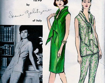 Galitzine Of Italy *  Vogue Couturier Pattern  1294 * GLAMOROUS  Dress, Overblouse & Pants  - with Vogue Label // Size 16, bust 36 * UNCUT