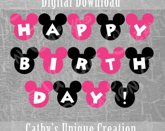 Minnie Mouse Happy Birthday Banner, Disney Birthday, Minnie Mouse Decoration, Pink, Birthday Party, Ears, Printable, DIY, Sign, Letter, A4