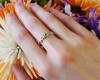 Delicate Sterling Bough Ring, Peridot and Sterling