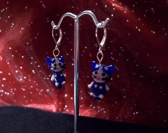 Lamp Work Blue Glass Kitten Earrings