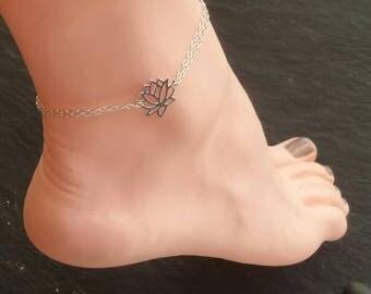 Sterling Silver Lotus flower anklet solid silver Lotus ankle bracelet , sterling silver lotus anklet, buddhist ankle bracelet
